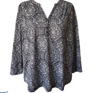 H&M Grey Blue Patterned Long Sleeve 3 Button Up Top Sz L